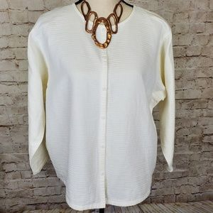 Eileen Fisher White Round Neck Cotton Top L EUC